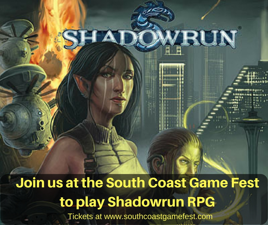 Join us at the South Coast Game Festto play Shadowrun RPG